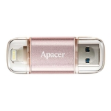 USB 3.1 Flash 32 Gb Apacer OTG Lightning Apple AH190 Rose Gold (AP32GAH190H-1)